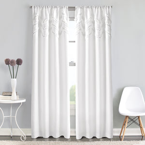 Chevron ruffle white poletop window curtain panel