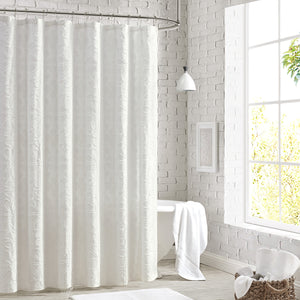 Peri Home Clipped Floral Shower Curtain White