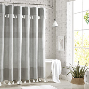 Peri Home Panama Stripe Shower Curtain Grey