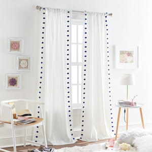 Tufted Dot Window Curtain Panel Navy