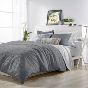 Microsculpt Solid Ogee Comforter Set charcoal