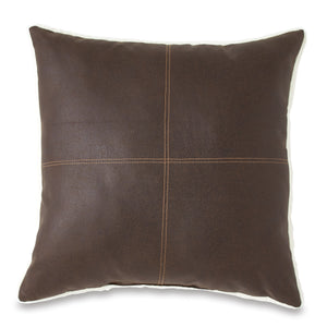 G.H. Bass & Co. Faux Leather Brown Decorative Pillow
