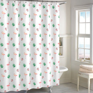 Destinations Preppy Palm Leaf Flamingo Shower Curtain