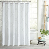 Peri Home Chenille Lattice Shower Curtain white