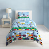 Dream Factory Trains And Planes Cotton Comforter Set