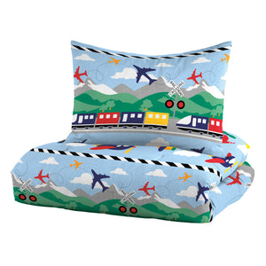 Dream Factory Trains And Planes Comforter Bedding Collection Set