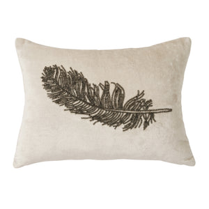 Michael Aram Feather Beaded Decorative Pillow Ivory