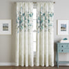 Watercolor Floral Poletop Window Curtain Panel Aqua