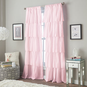 Curtainworks Flounced Window Curtain Panel Pink
