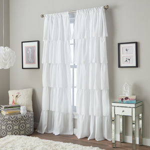 Curtainworks Flounced Window Curtain Panel White