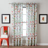 Botanical Garden Floral Window Curtain Panel Red