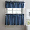 Curtainworks Solid Twill Tiers & Valance Set Navy