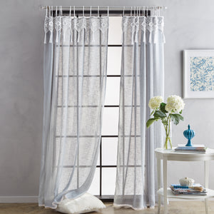 peri home suri macrame tab top window curtain panel grey