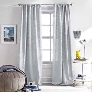 Stars Poletop Microsculpt Window Curtain Panel Grey