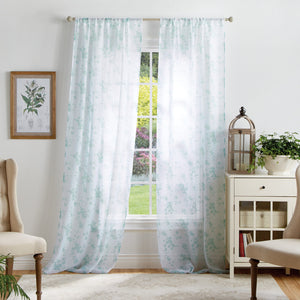 Martha Stewart Bellefield Floral Window Panel Aqua