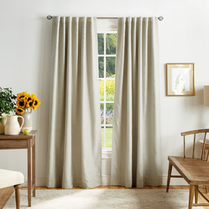 Martha Stewart Bedford Woven Plaid Backtab Curtain Panel Linen