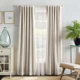 Martha Stewart Bedford Woven Plaid Backtab Curtain Panel White