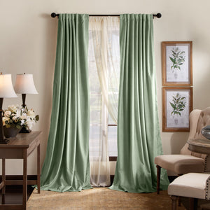 Martha Stewart Lucca Velvet Backtab Curtain Panel Green