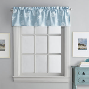 Destinations Seashells Valance Aqua