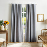 Martha Stewart Bedford Woven Plaid Backtab Curtain Panel Grey