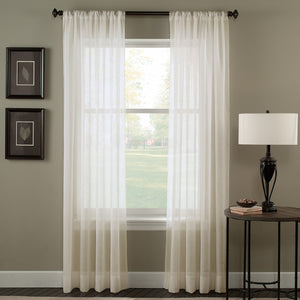 Curtainworks Trinity Crinkle Voile Window Curtain Panel Oyster