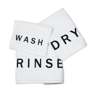 "DKNY Chatter Towel Set ""wash"" ""dry"" ""rinse"""