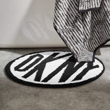 DKNY Circle Logo Bath Rug Black/White