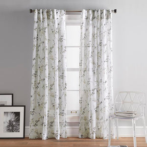 DKNY Wallflower Sheer Inverted Pleat Curtain Panel Pair