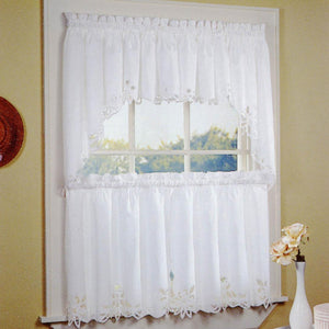 Curtainworks Battenburg Tier & Valance Separates White