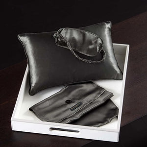 Donna Karan Silk Eye Pillow and Eye Mask Travel Set Black
