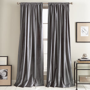 DKNY Modern Knotted Velvet Window Curtain Panel Charcoal