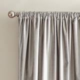 DKNY Modern Knotted Velvet Window Curtain Panel Silver