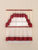 Curtainworks Jayden Tier & Valance Separates Red
