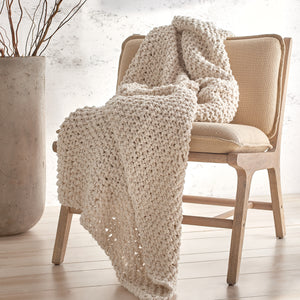 DKNY PURE Chunky Knit Throw Natural