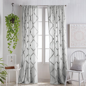Peri Home Chenille Lattice Window Curtain Panel grey