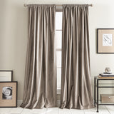 DKNY Modern Knotted Velvet Window Curtain Panel Mocha