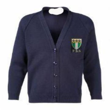 Friern Barnet Navy Knitted Cardigan with Logo