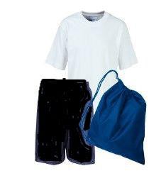 Abercrombie PE Kit comprises of White Teeshirt, Black Shorts and Royal Bag