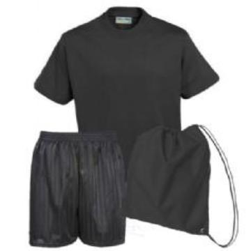 Gayton PE Kit Black Teeshirt / Black Shorts / Black Bag