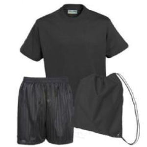 Whittlebury PE Kit Black Teeshirt / Black Shorts / Black Bag