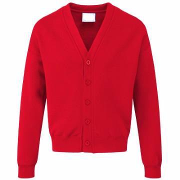 Brampton Primary Red Acrylic Sweatcardigan with Logo