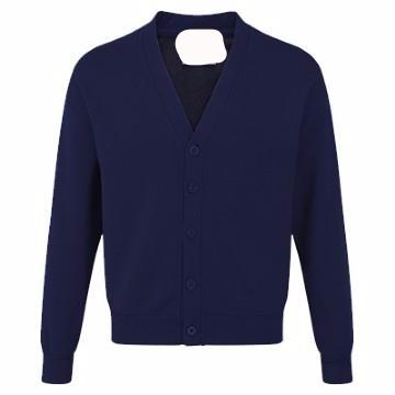 Hollingwood Navy Acrylic Sweatcardigan with Logo