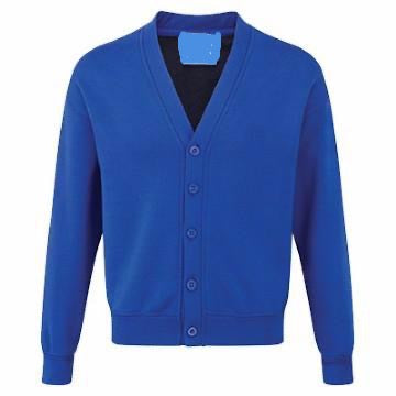 Old Hall Junior Classic Royal Sweatcardigan with Logo