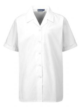 Twin Pack White Girls Revere Short Sleeve Blouses
