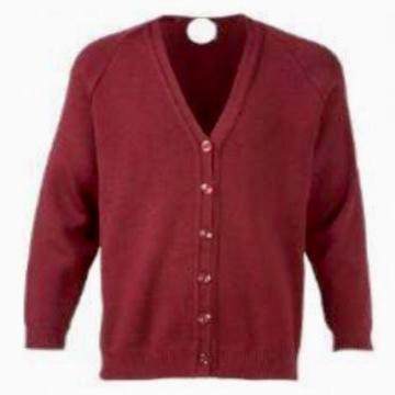 Stoke Bruerne Burgundy Knitted Cardigan with Logo