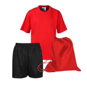 Little Thetford PE Kit Red Teeshirt / Black Shorts / Red Bag
