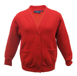 Bottisham Primary Acrylic Red Sweatcardigan with Logo