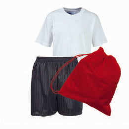 Bottisham PE Kit White Teeshirt / Black Shadow Stripe Shorts / Red Bag