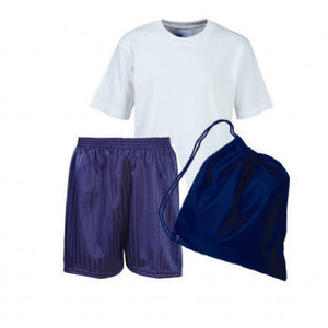 Hollingwood PE Kit - White Teeshirt / Navy Shorts / Navy Bag