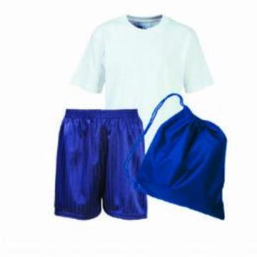 Whitecotes PE Kit White Teeshirt / Navy Shorts / Royal Bag